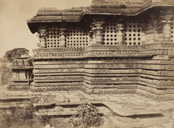 [Sculptural friezes on the south-east corner of the Hoysalesvara Temple, Halebid.]